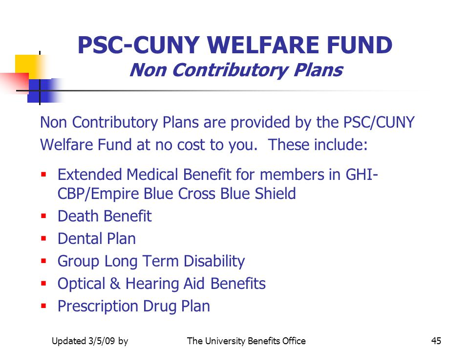 PSC-CUNY WELFARE FUND Non Contributory Plans