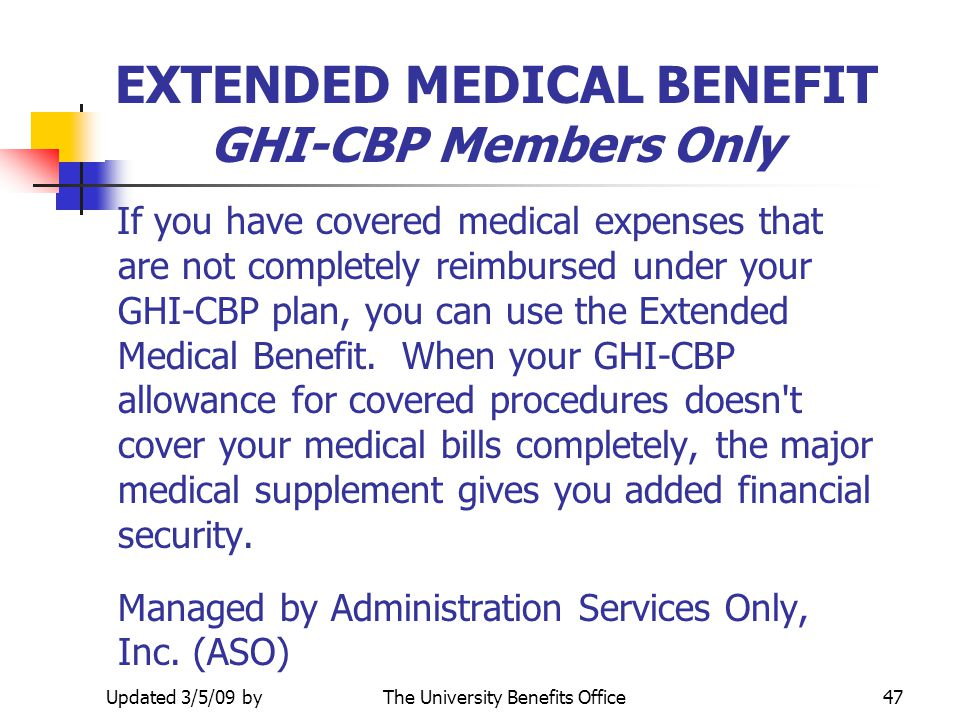 EXTENDED MEDICAL BENEFIT GHI-CBP Members Only