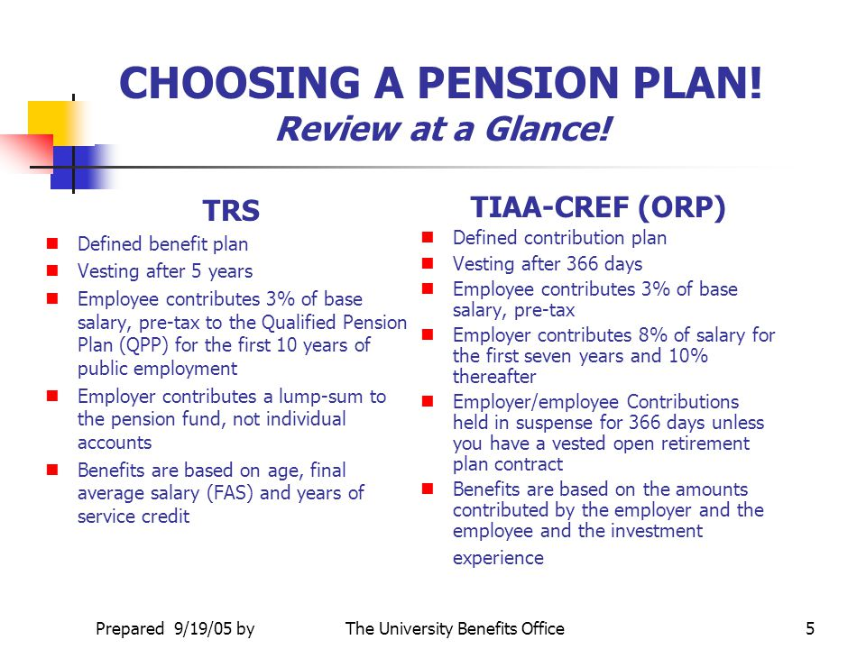 CHOOSING A PENSION PLAN! Review at a Glance!
