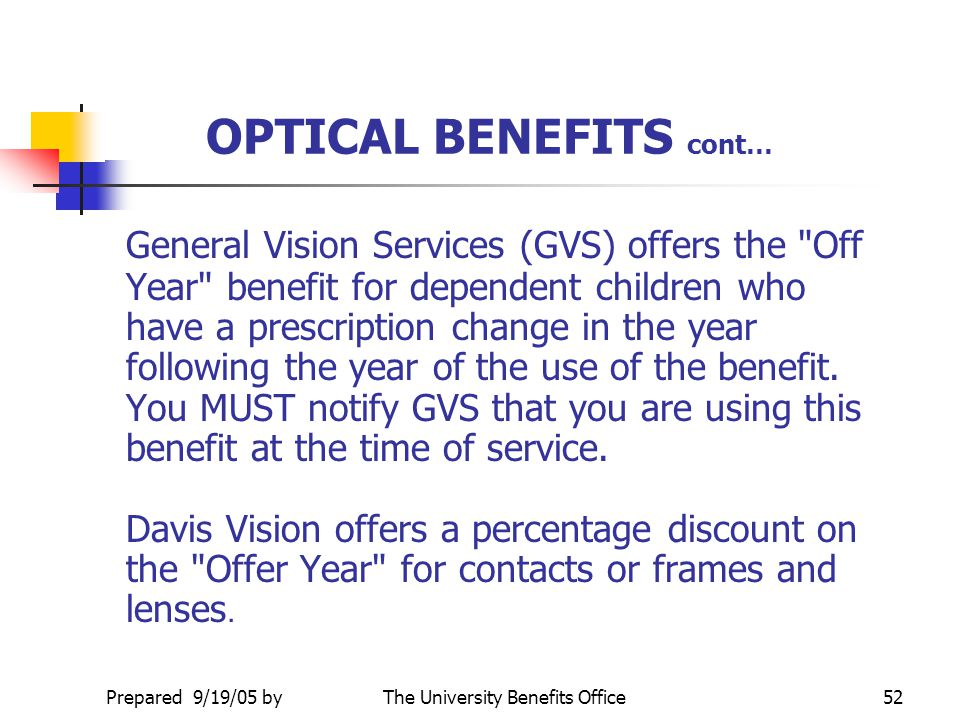 OPTICAL BENEFITS cont…