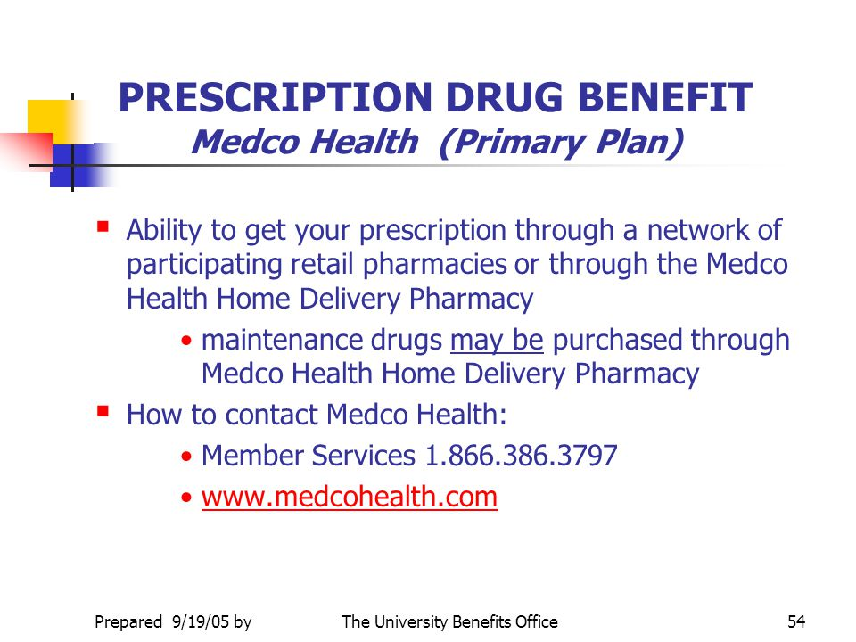 PRESCRIPTION DRUG BENEFIT Medco Health (Primary Plan)