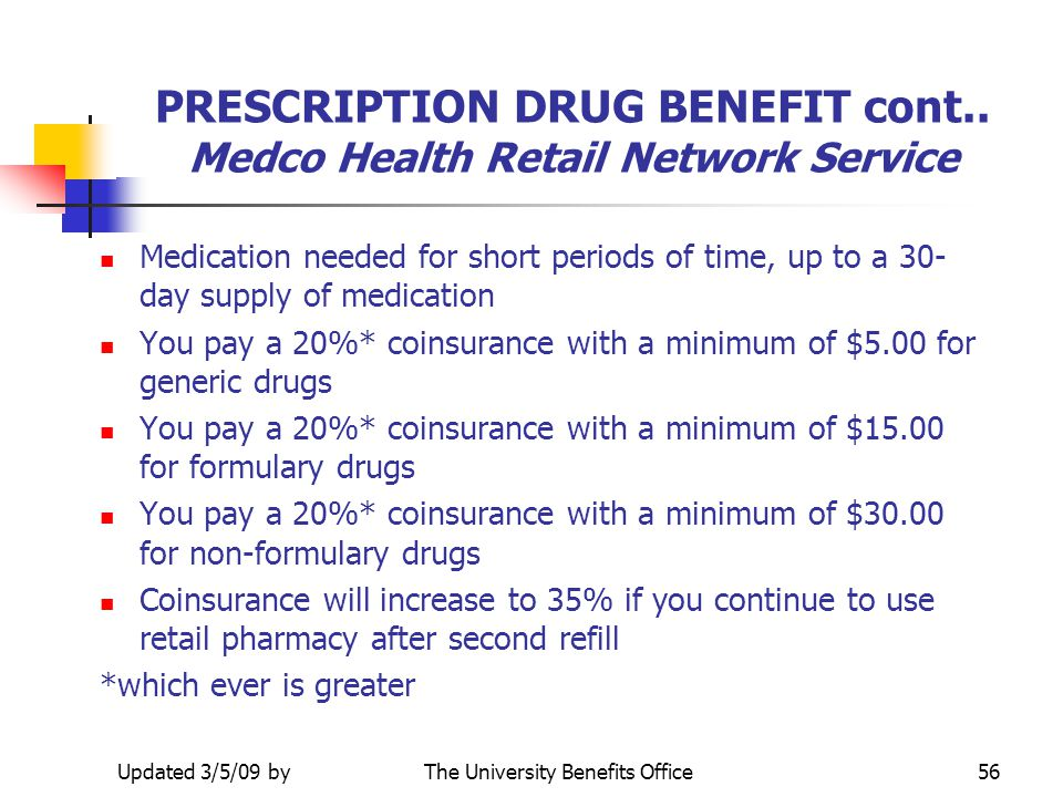 PRESCRIPTION DRUG BENEFIT cont.. Medco Health Retail Network Service