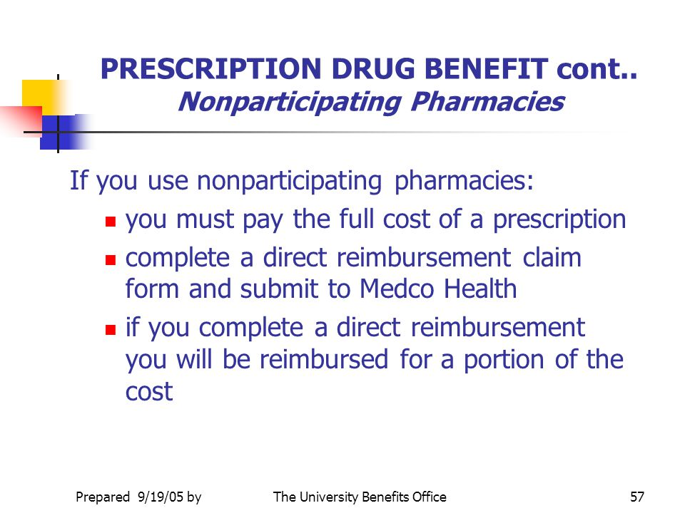 PRESCRIPTION DRUG BENEFIT cont.. Nonparticipating Pharmacies