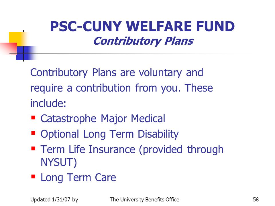 PSC-CUNY WELFARE FUND Contributory Plans