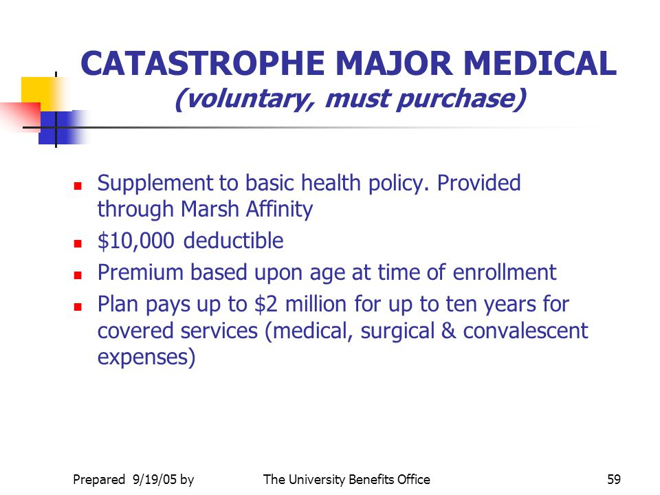 CATASTROPHE MAJOR MEDICAL (voluntary, must purchase)