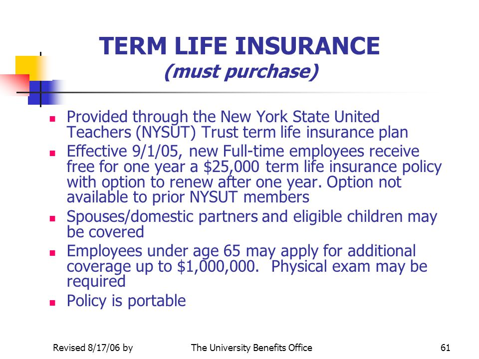 TERM LIFE INSURANCE (must purchase)