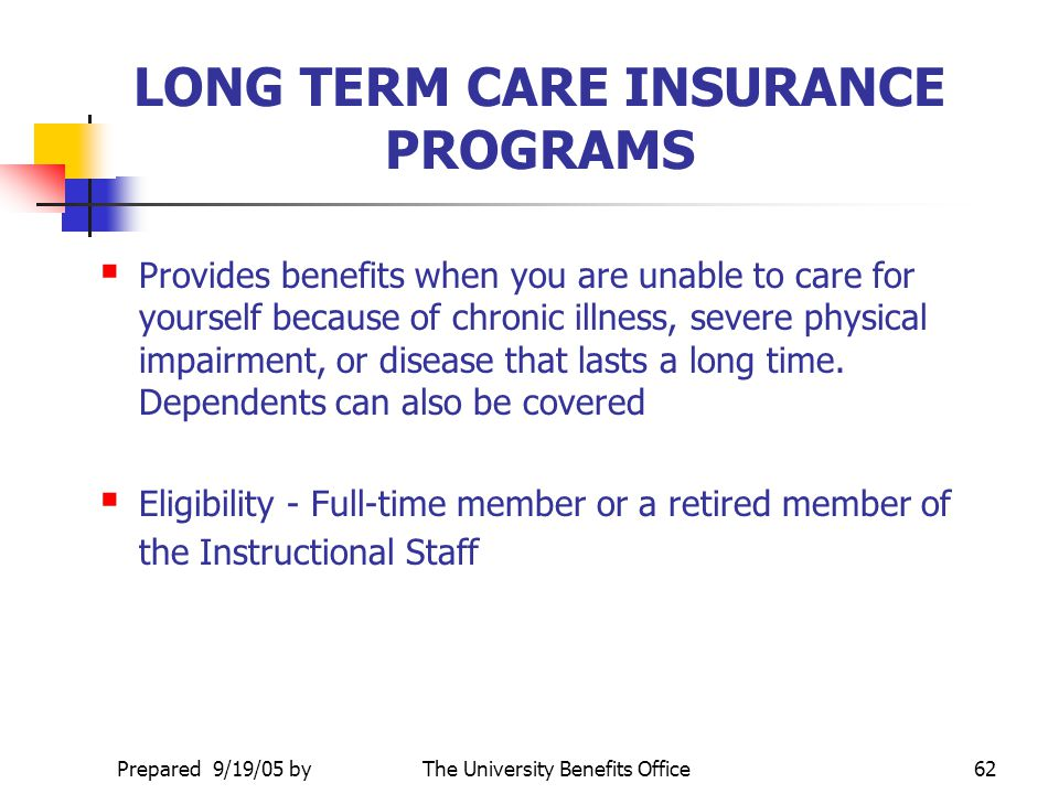 LONG TERM CARE INSURANCE PROGRAMS