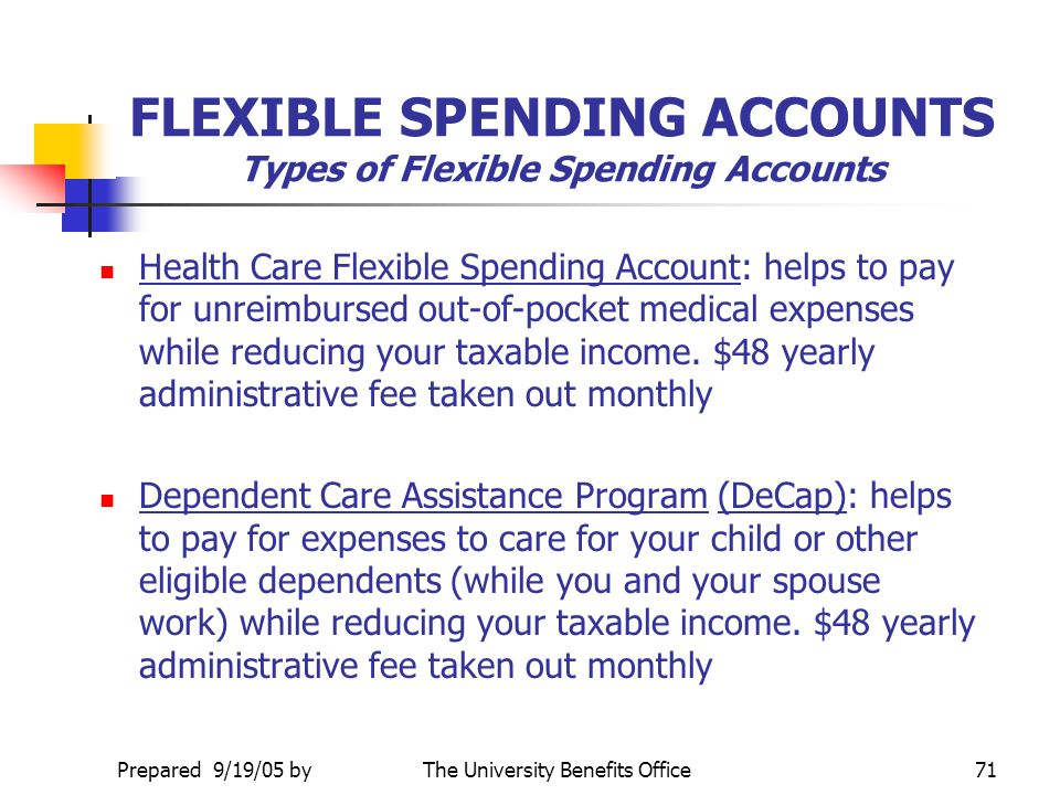 FLEXIBLE SPENDING ACCOUNTS Types of Flexible Spending Accounts