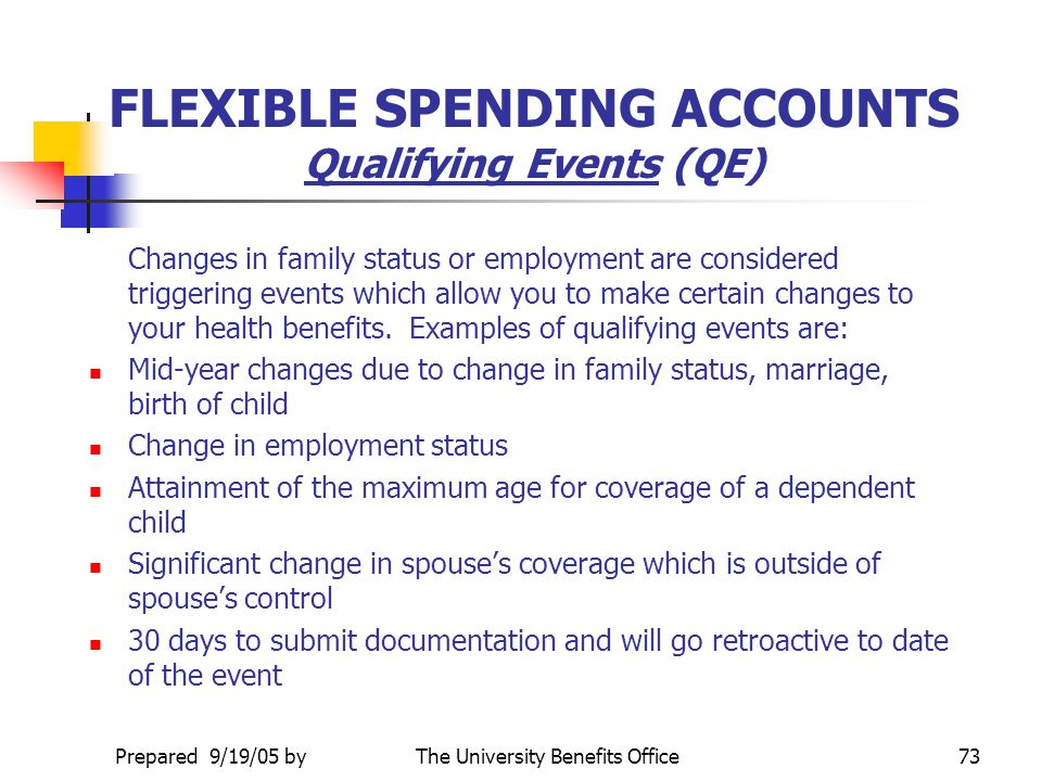 FLEXIBLE SPENDING ACCOUNTS Qualifying Events (QE)