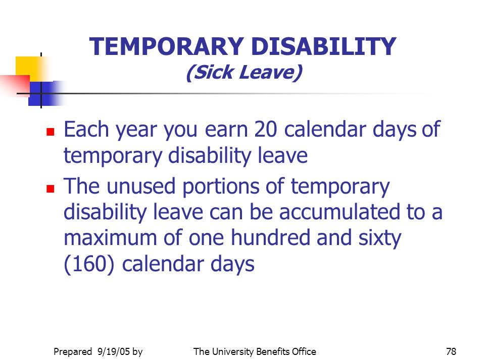 TEMPORARY DISABILITY (Sick Leave)