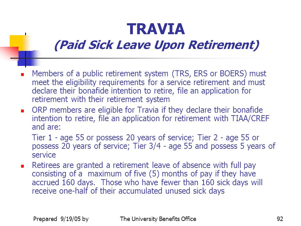 TRAVIA (Paid Sick Leave Upon Retirement)