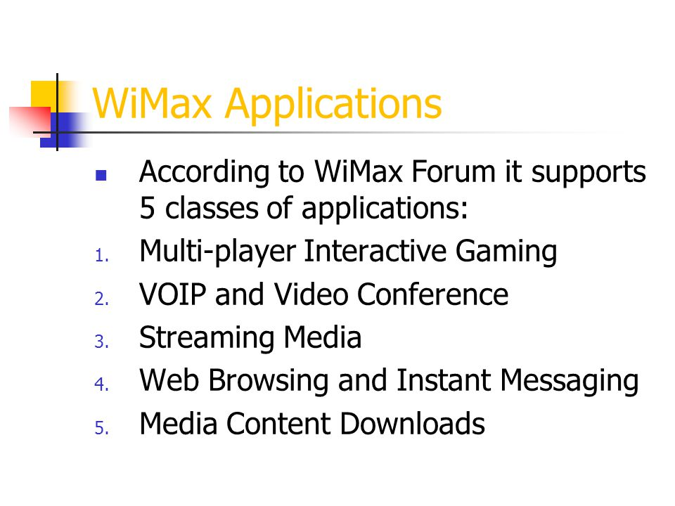 WiMax Applications According to WiMax Forum it supports 5 classes of applications: Multi-player Interactive Gaming.