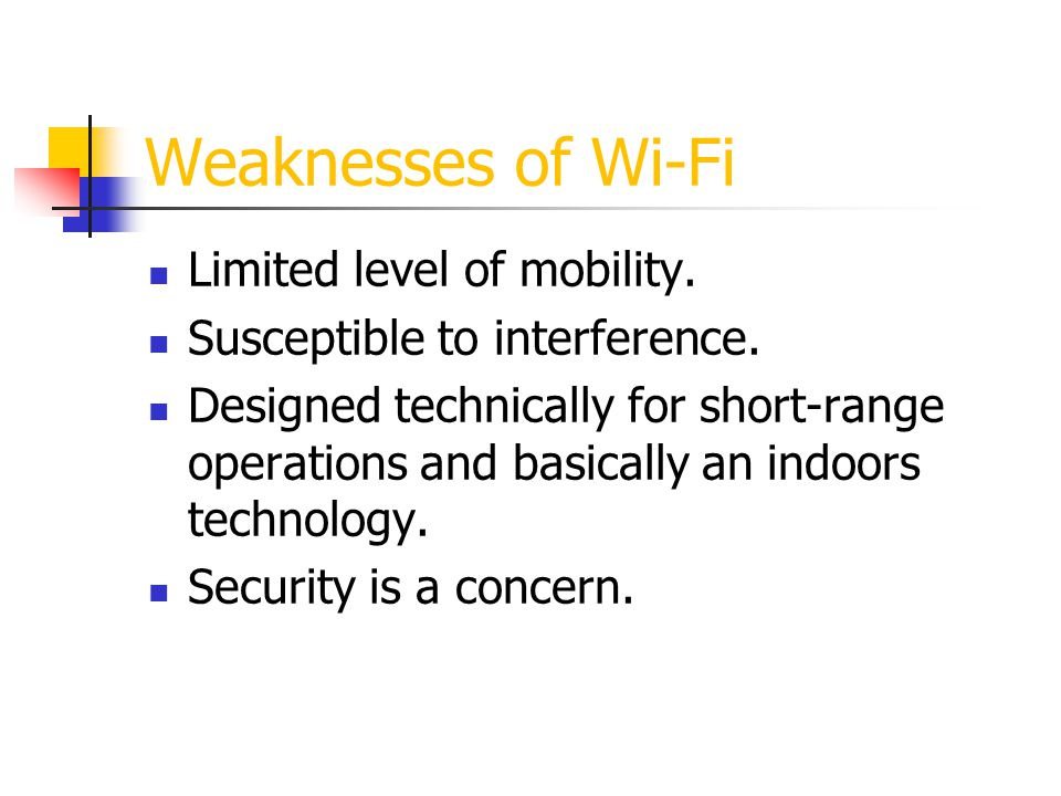 Weaknesses of Wi-Fi Limited level of mobility.