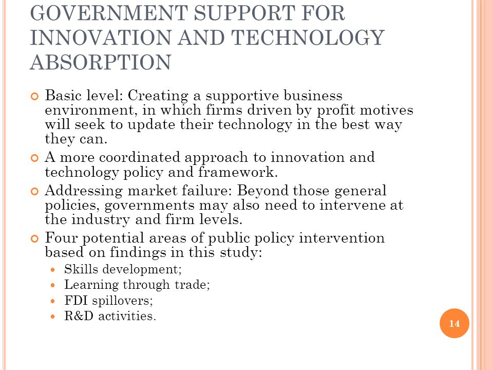 GOVERNMENT SUPPORT FOR INNOVATION AND TECHNOLOGY ABSORPTION