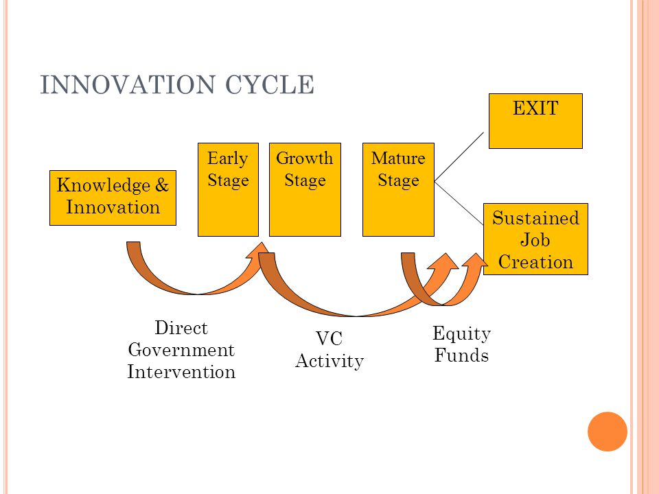 INNOVATION CYCLE EXIT Early Stage Growth Stage Mature Stage