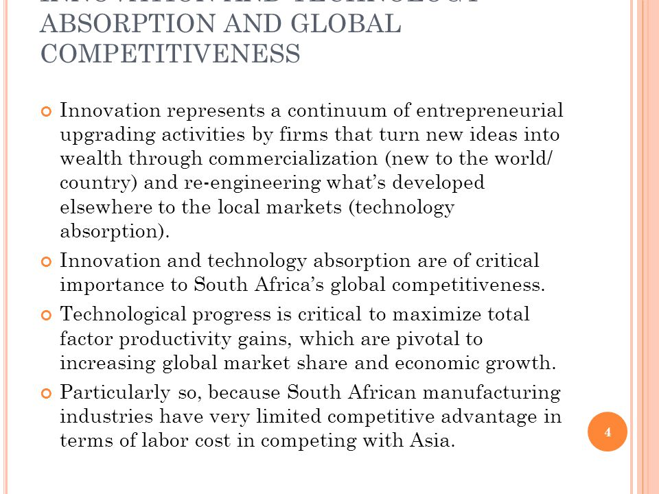 INNOVATION AND TECHNOLOGY ABSORPTION AND GLOBAL COMPETITIVENESS