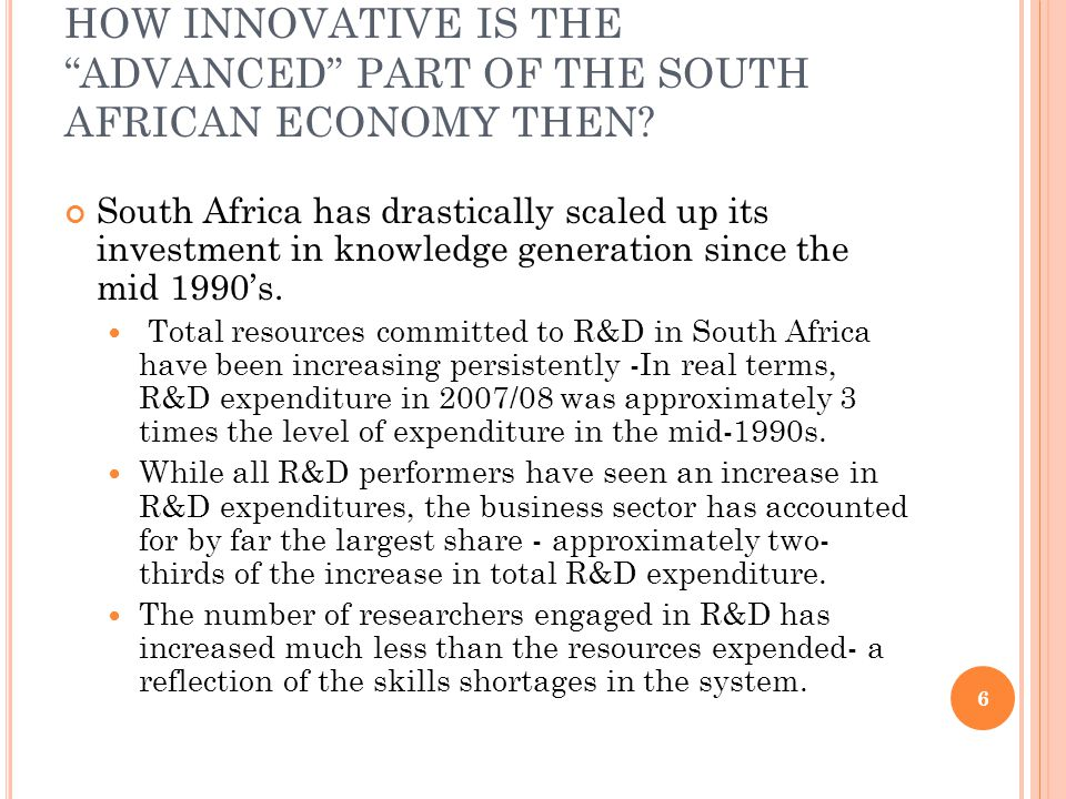 HOW INNOVATIVE IS THE ADVANCED PART OF THE SOUTH AFRICAN ECONOMY THEN