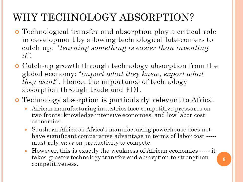 WHY TECHNOLOGY ABSORPTION