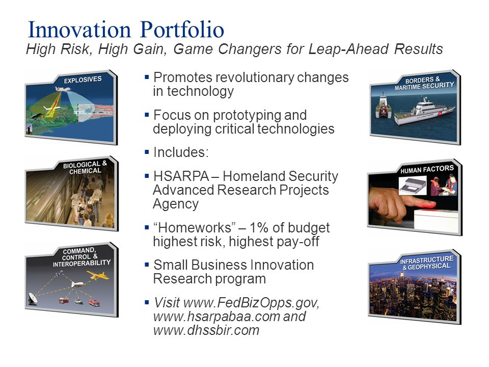 Innovation Portfolio High Risk, High Gain, Game Changers for Leap-Ahead Results. Promotes revolutionary changes in technology.