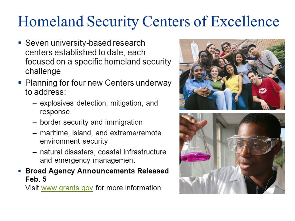 Homeland Security Centers of Excellence