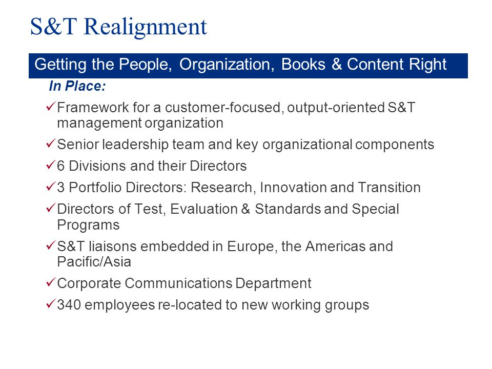 S&T Realignment Getting the People, Organization, Books & Content Right. In Place: