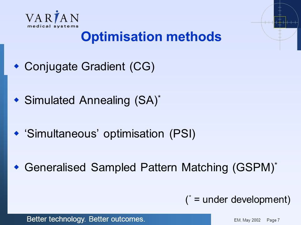 Optimisation methods Conjugate Gradient (CG) Simulated Annealing (SA)*