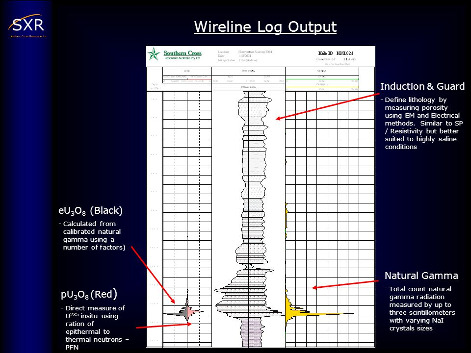 Wireline Log Output Induction & Guard eU3O8 (Black) Natural Gamma