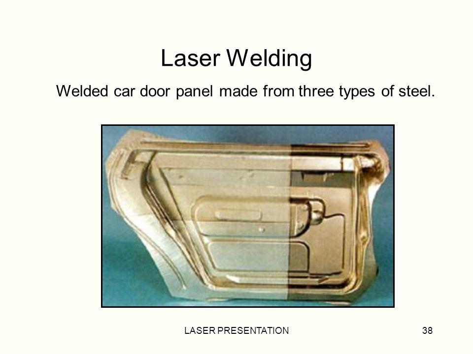 Laser Welding Welded car door panel made from three types of steel.