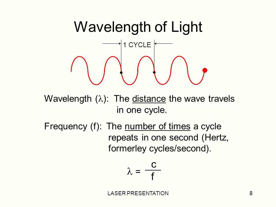 Wavelength of Light c f Wavelength (): The distance the wave travels