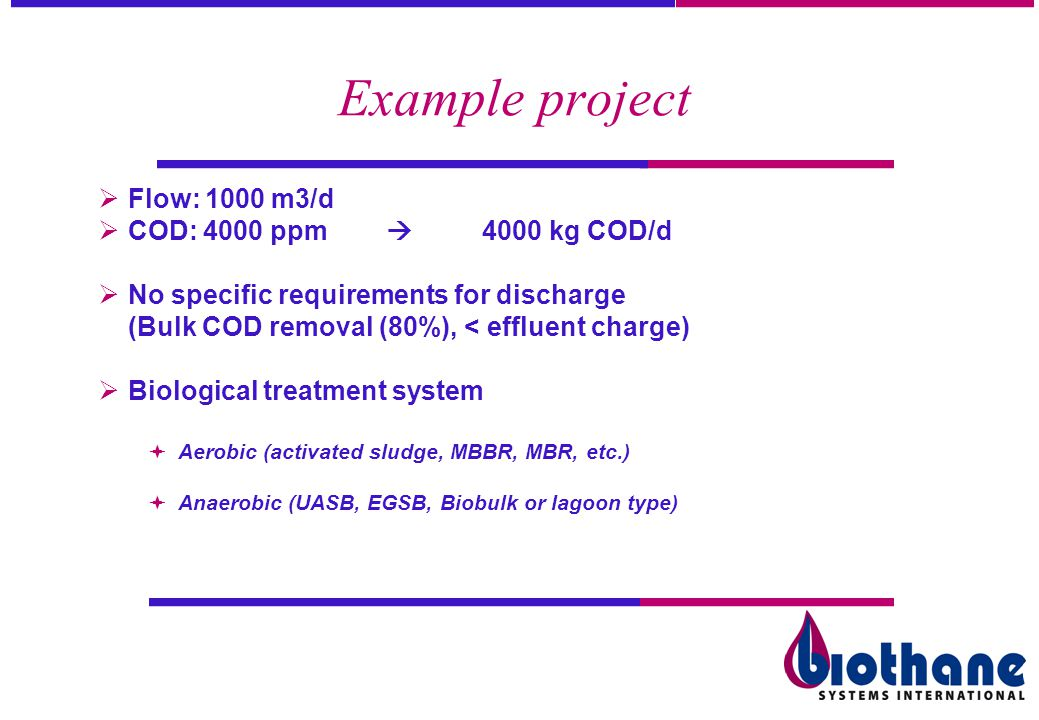 Example project Flow: 1000 m3/d COD: 4000 ppm  4000 kg COD/d