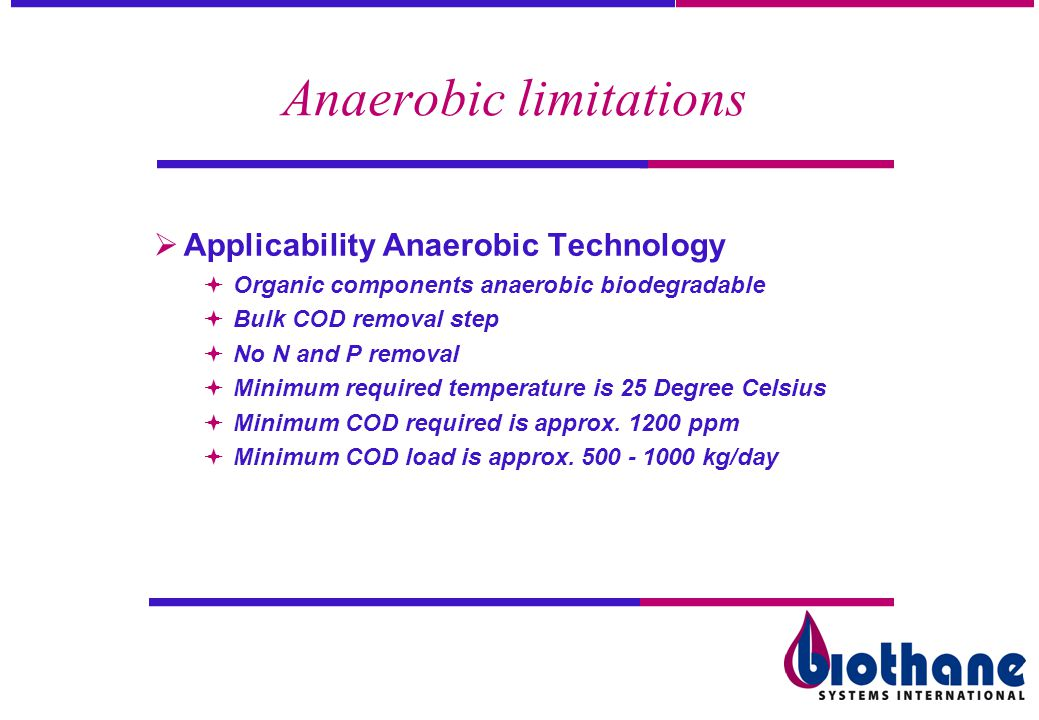 Anaerobic limitations