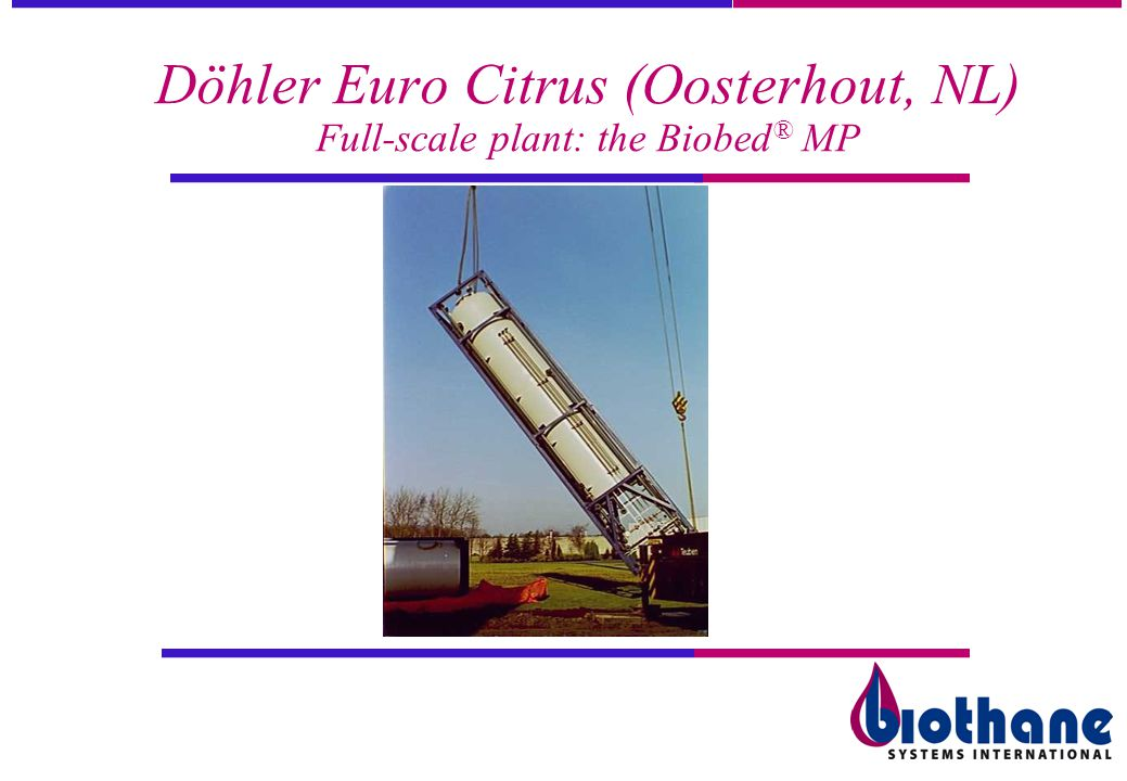 Döhler Euro Citrus (Oosterhout, NL) Full-scale plant: the Biobed® MP