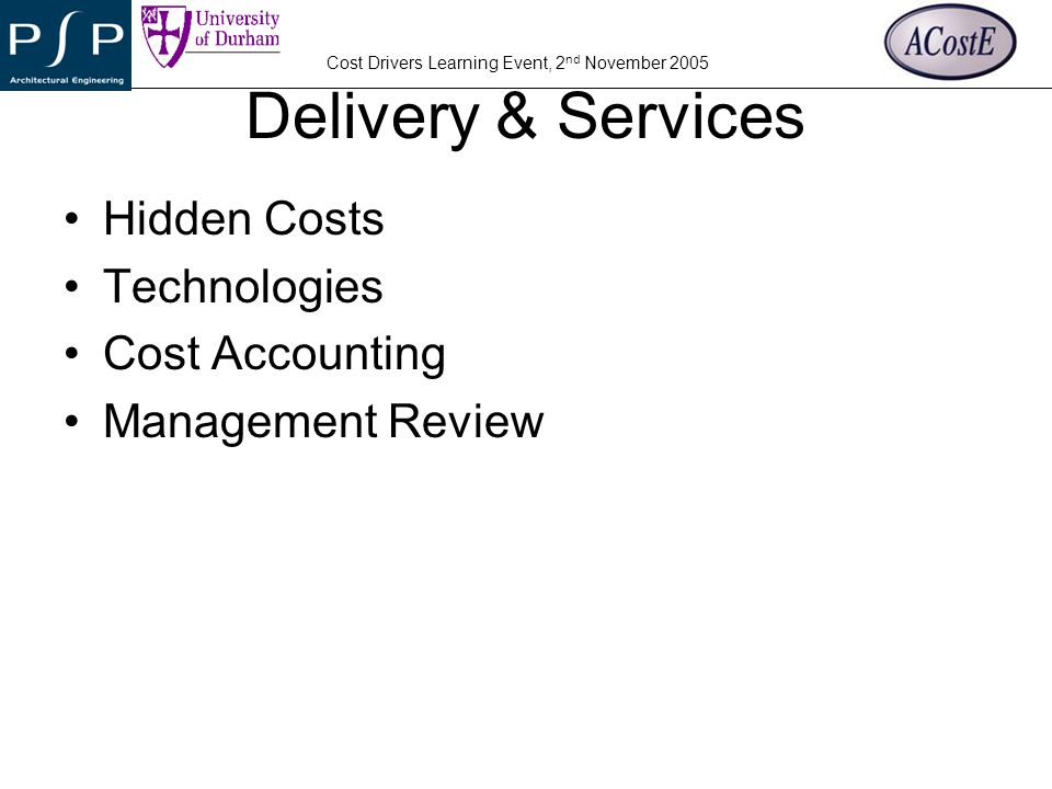 Delivery & Services Hidden Costs Technologies Cost Accounting