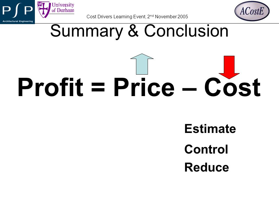Summary & Conclusion Profit = Price – Cost Estimate Control Reduce