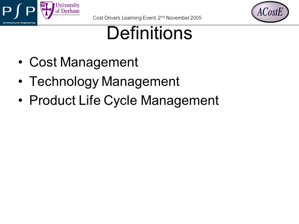 Definitions Cost Management Technology Management
