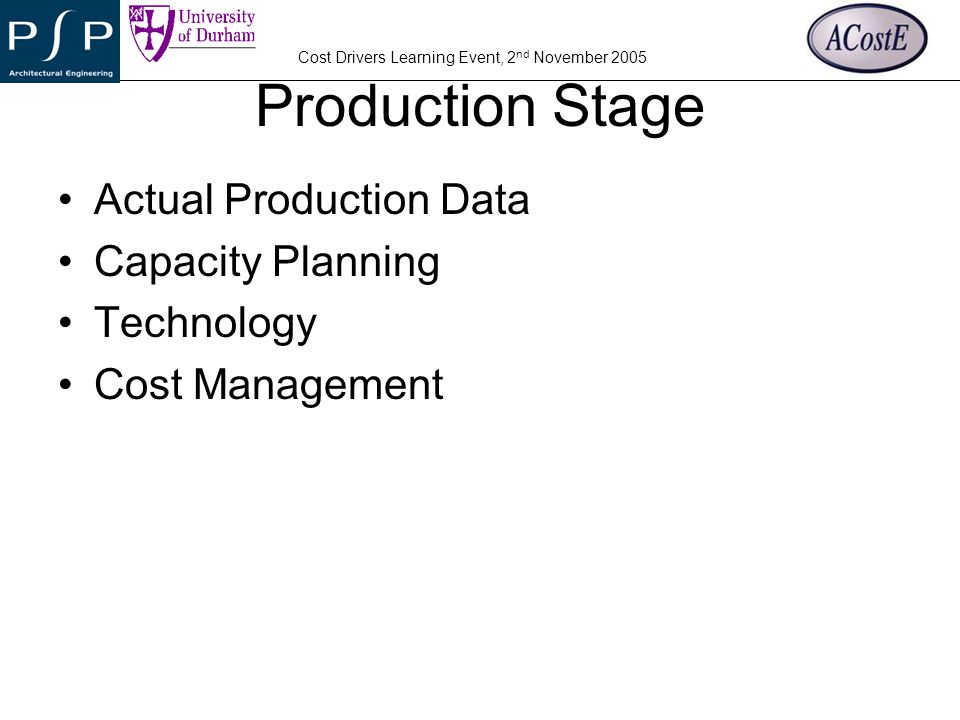 Production Stage Actual Production Data Capacity Planning Technology