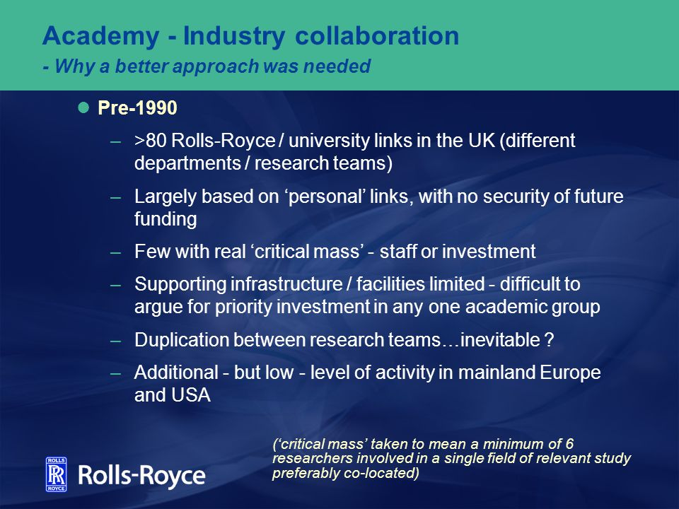 Academy - Industry collaboration - Why a better approach was needed