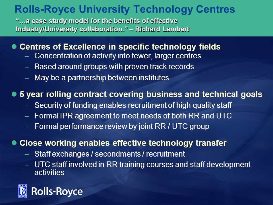 Rolls-Royce University Technology Centres