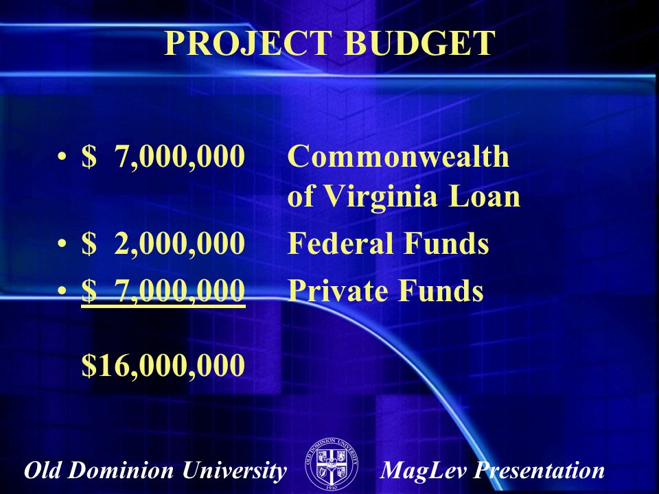 PROJECT BUDGET $ 7,000,000 Commonwealth of Virginia Loan