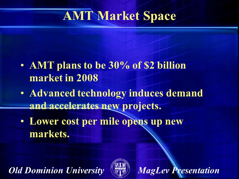 AMT Market Space AMT plans to be 30% of $2 billion market in 2008