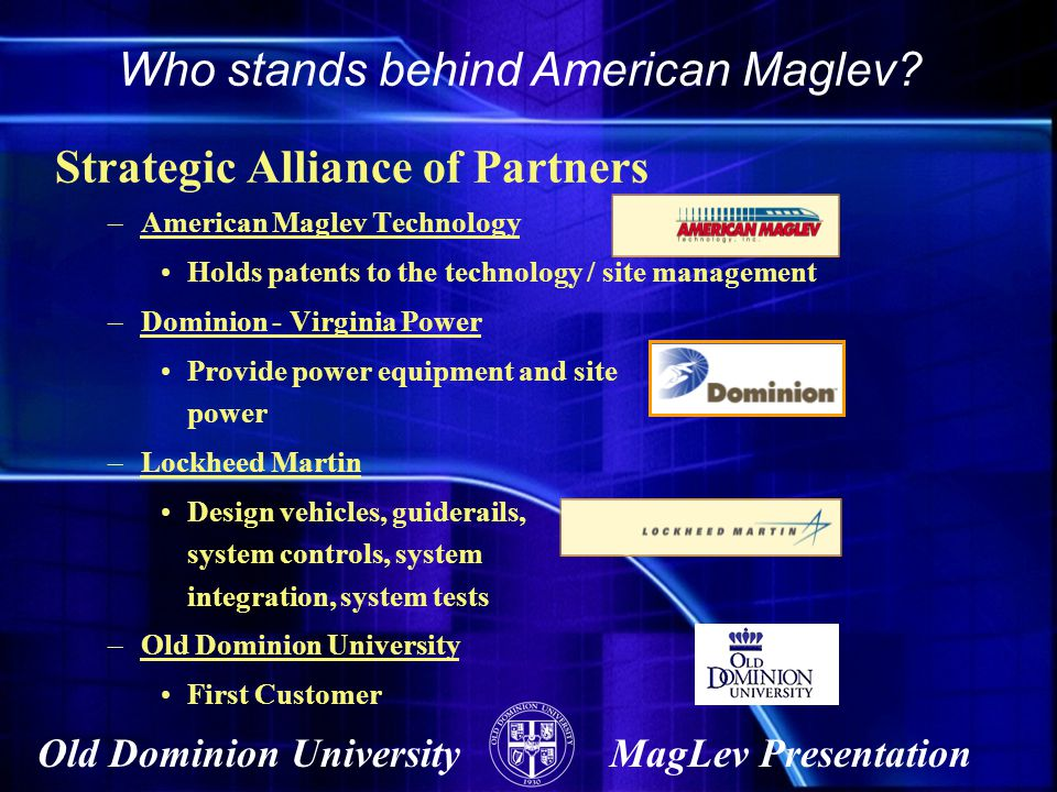 Who stands behind American Maglev