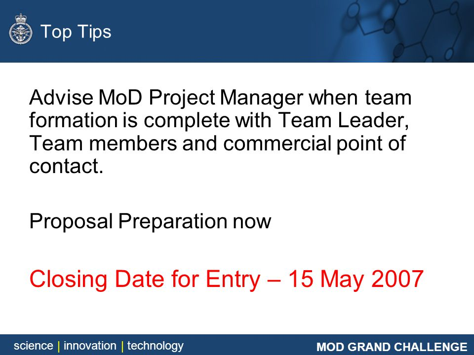 Closing Date for Entry – 15 May 2007