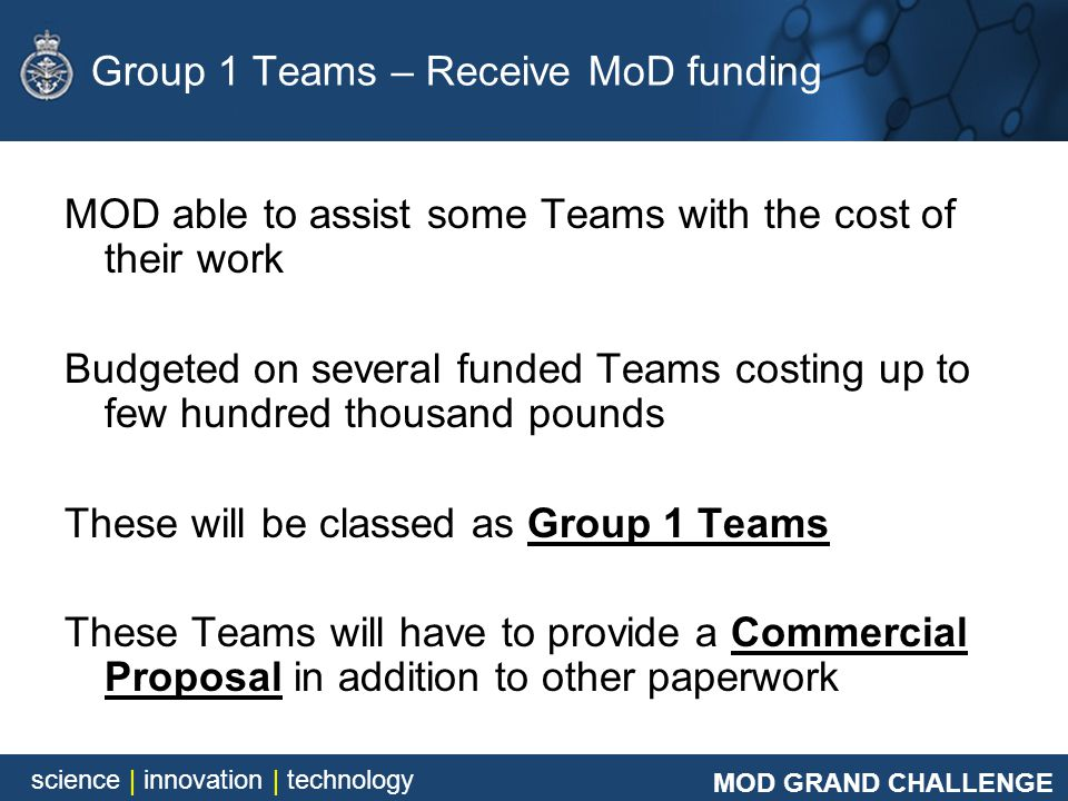 Group 1 Teams – Receive MoD funding