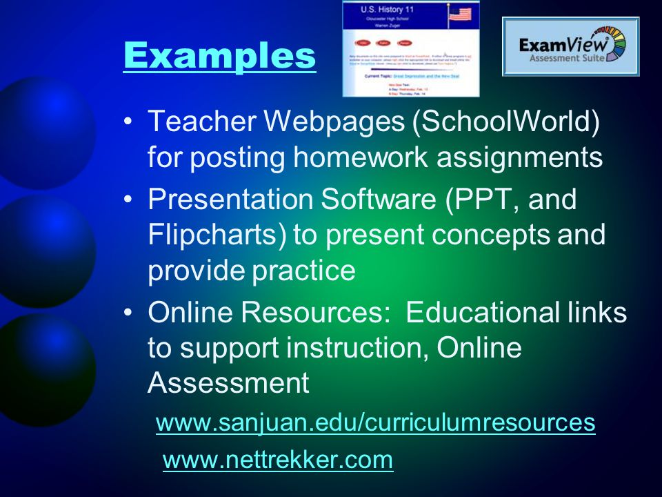 Examples Teacher Webpages (SchoolWorld) for posting homework assignments.
