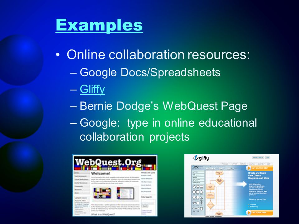 Examples Online collaboration resources: Google Docs/Spreadsheets