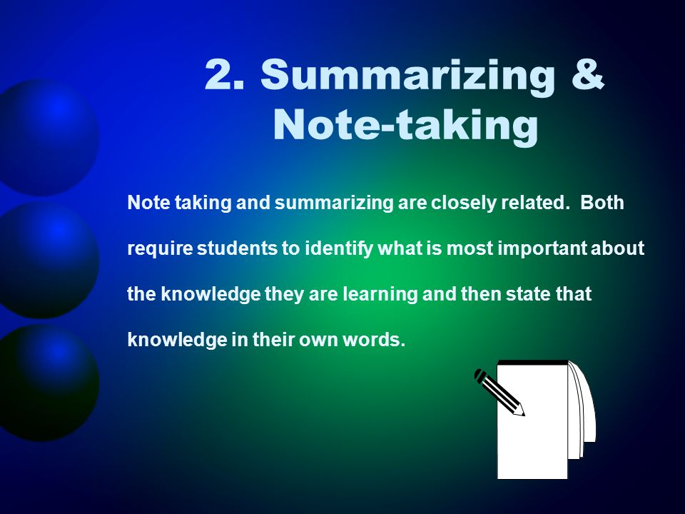 2. Summarizing & Note-taking