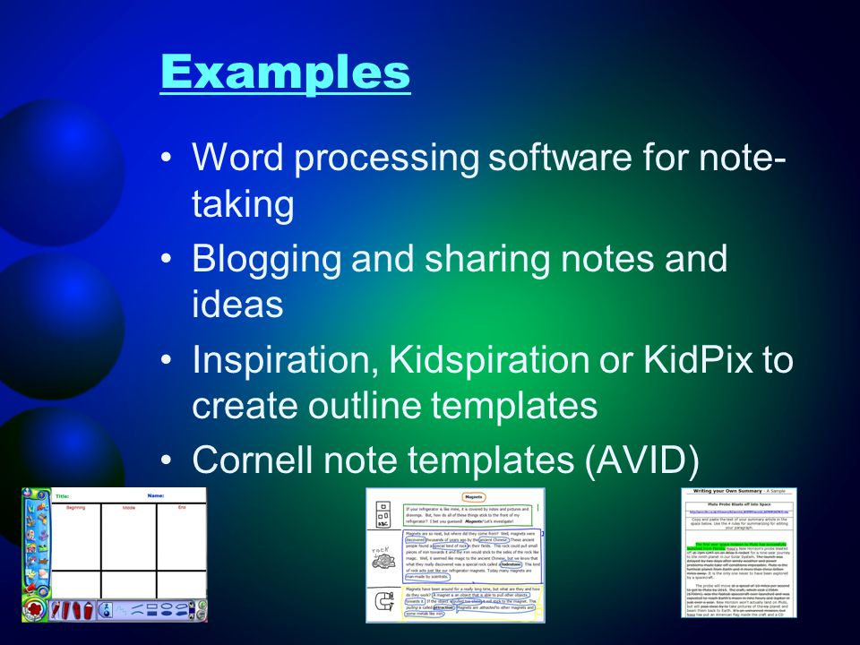 Examples Word processing software for note-taking