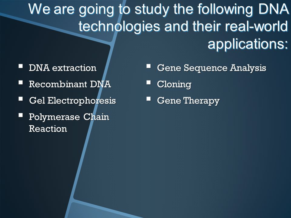 We are going to study the following DNA technologies and their real-world applications:
