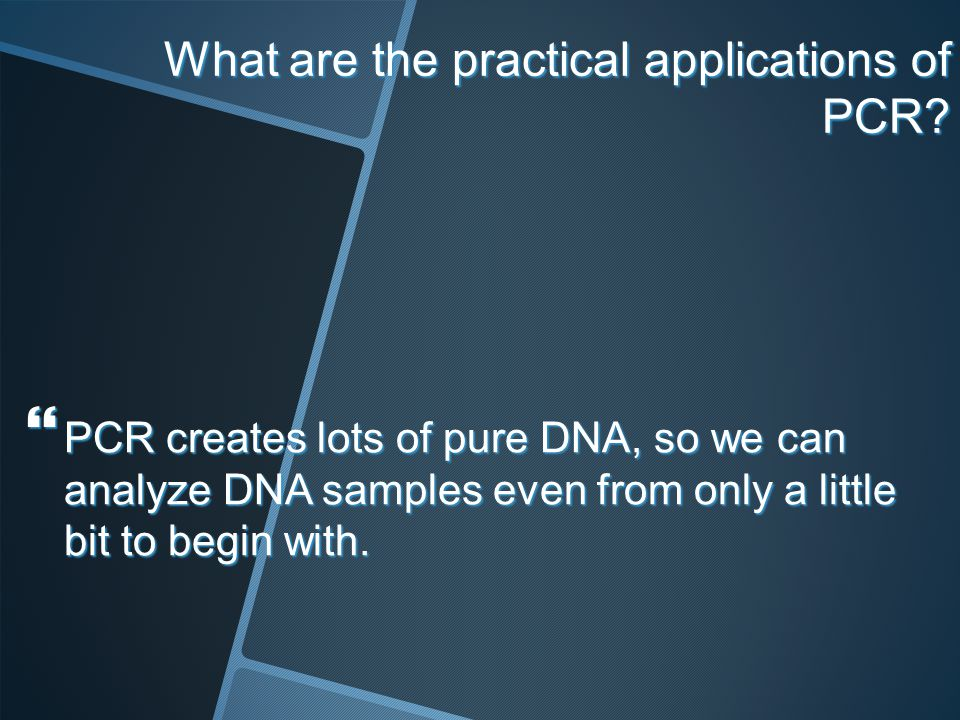 What are the practical applications of PCR