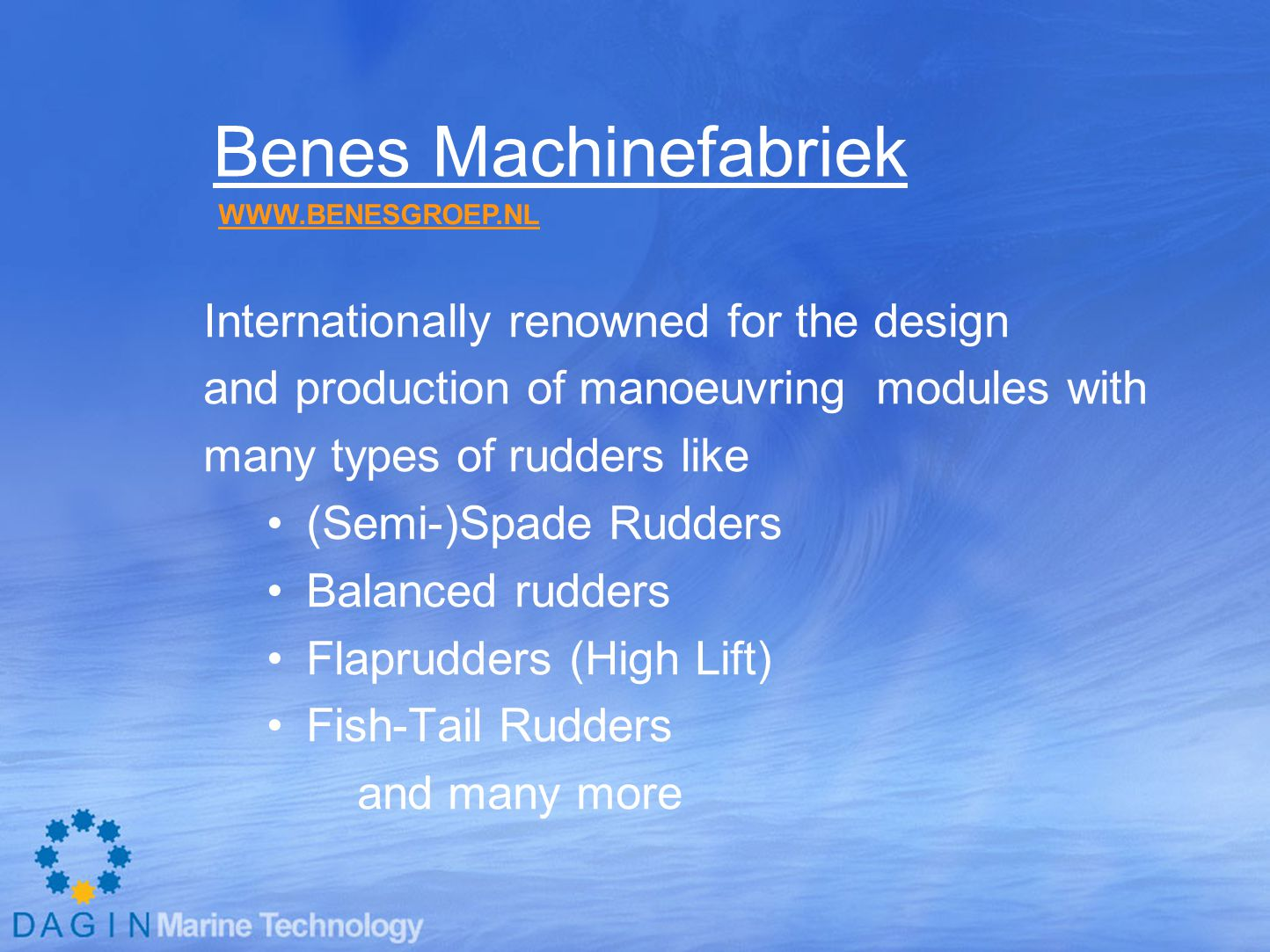 Benes Machinefabriek Internationally renowned for the design